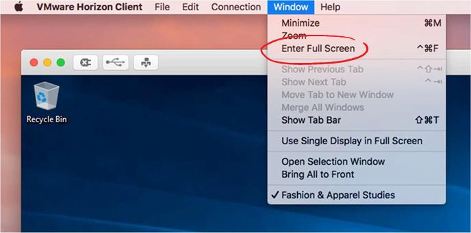 Windows Menu selected with Enter Full Screen indicated