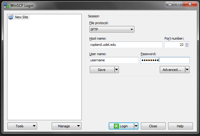log in screen