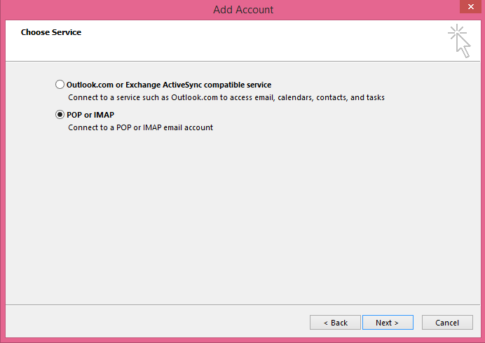 Add account dialogue box with Pop or IMAP radio button selected.