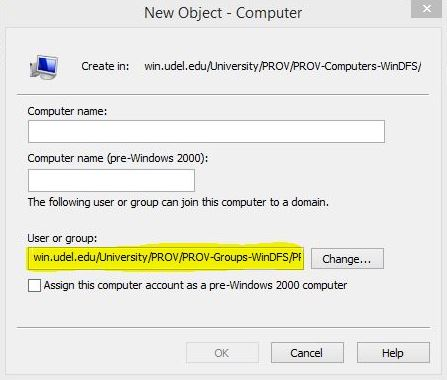 New Object - Computer dialog box