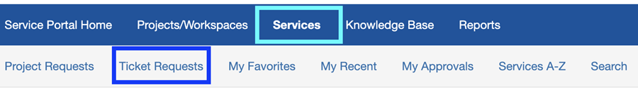 screenshot of TDX navigation bar with links for services and requests