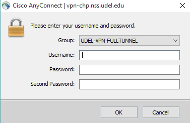 AnyConnect log in dialogue box showing Group, Username, Password, and Second Password fields.