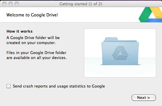 Google Drive welcome window.