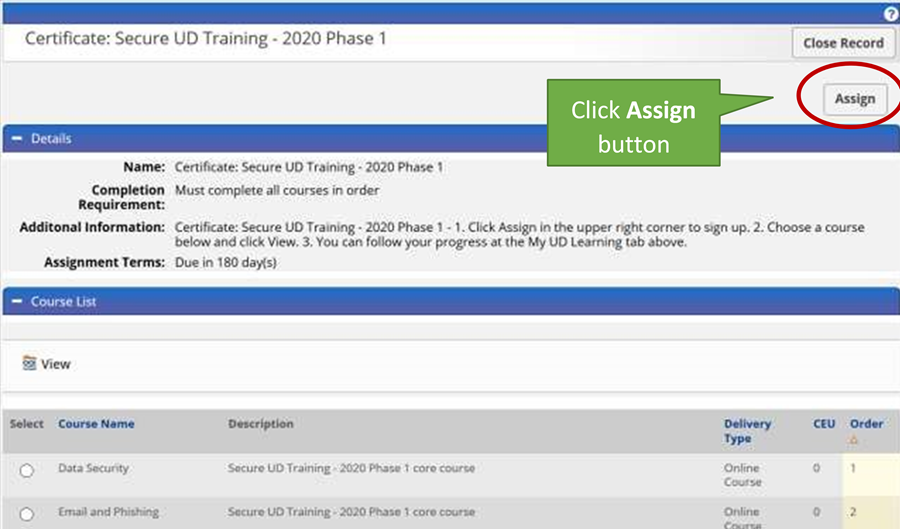 """Secure UD Training description with """"Assign"""" button available in upper right corner."""
