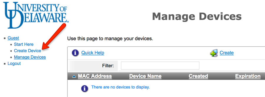 Manage Devices screenshot