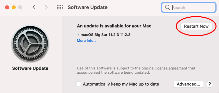 software Update dialogue