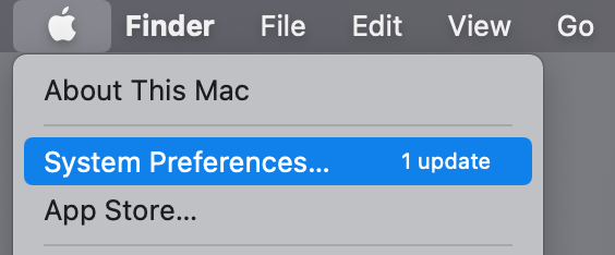Apple menu with System Preferences selected