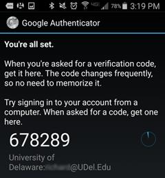Google Authenticator app window showing authentication code