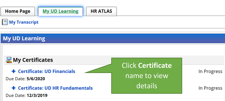 My UD Learning page that shows certificates and progress