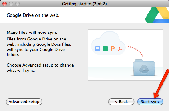 Start sync of files between Google Drive and your computer.