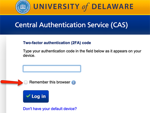 CAS 2FA window showing 2FA code field and Remember this browser check box