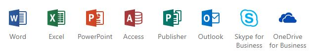Windows office programs list: Word, Excel, PowerPoint, Access, Publisher, Outlook, Skype, OneDrive