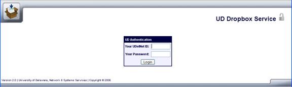 Login window for UD dropbox users