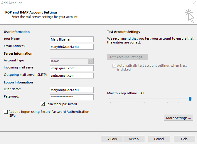 Add account dialogue box in Outlook