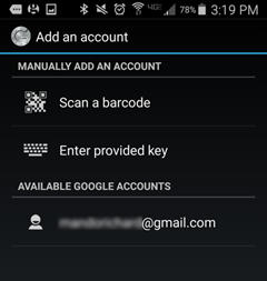 Google Authenticator app window with Scan a barcode button