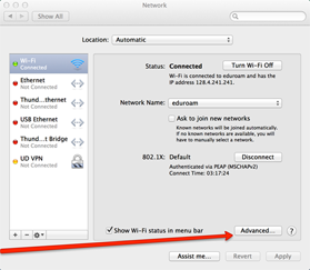 Advanced button in the network preferences window is indicated.