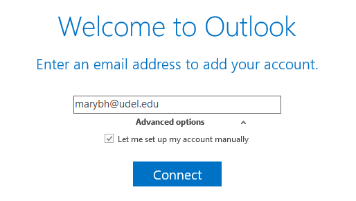 """Welcome to Outlook dialogue box with """"Advanced options"""" drop-down and """"Let me set up my account manually"""" check box."""