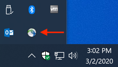 AnyConnect in the Windows Task Bar