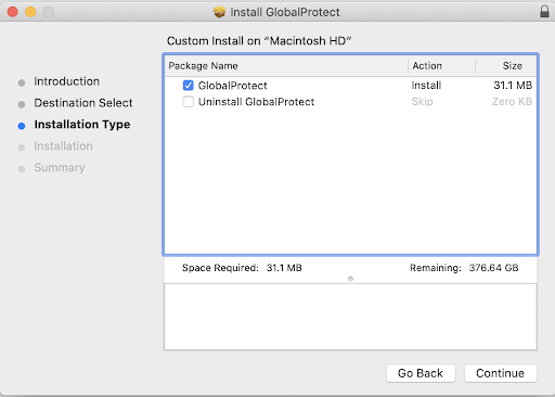 macOS Install Global Protect Window . Global Protect check box is marked.
