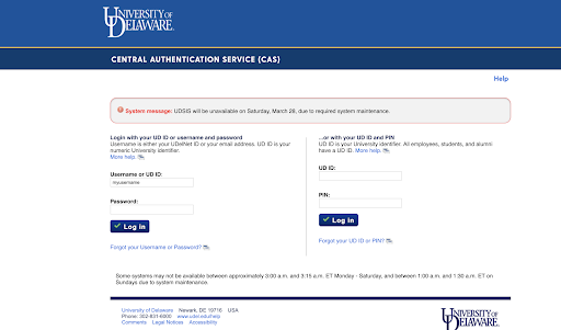 UD CAS login window with username and password fields