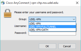 AnyConnect log in box.