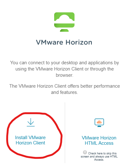 """VMWare client install dialogue with option to choose """"Install VMware Horizon Client"""""""