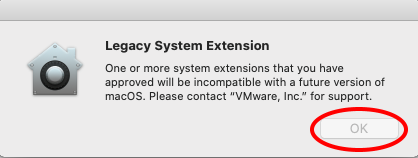 """Legacy system extension window with """"OK"""" button indicated"""