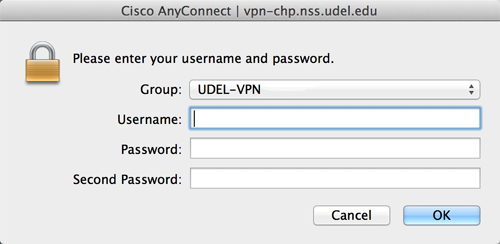 VPN log in Dialogue box with UDEL-VPN set as the Group