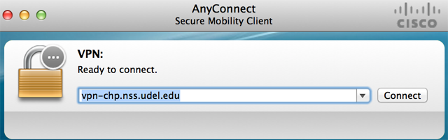 AnyConnect from UDeploy is preconfigured to connect to vpn-chp.nss.udel.edu